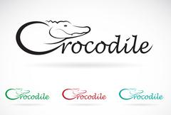 Vector design crocodile is text on a white background. Stock Illustration