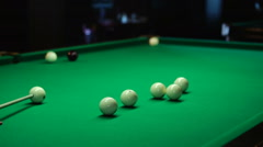 Stock Video Footage of billiard table with the attributes of the game