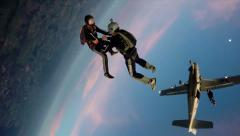 Skydiving sunset team work - stock footage