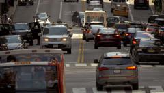 Intersection street traffic zebra crossing cars pedestrians NYC New York City - stock footage