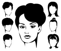 Woman Haircut Emblem Set Stock Illustration