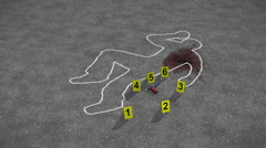 Crime scene with crime scene markers, blood stained chalk outline. - stock footage