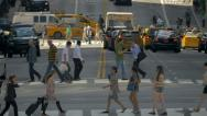 Stock Video Footage of Busy street traffic intersection cars pedestrians zebra crossing New York City