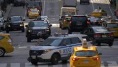 Stock Video Footage of Intersection busy street traffic cars pedestrians Manhattan NYC New York City