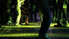 Stock Video Footage of Legs of dancing crowds on reggae concert people having fun and relaxing
