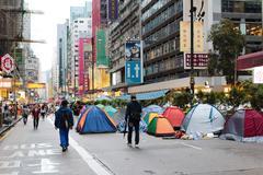 Umbrella Revolution in mong kok Stock Photos