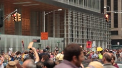 Huge Turnout at Global Warming Protest NYC Stock Footage