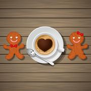 Stock Illustration of loving couple of gingerbread cookies and cappuccino cup with heart shape