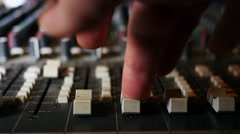 Close up of mixing desk and engineer Stock Footage