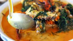 Thai cuisine, Seafood blue crab with spicy coconut curry soup and vegetable - stock footage