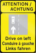 Trilingual Drive On Left In Ireland - stock illustration