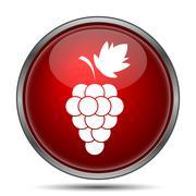 Stock Illustration of Grape icon. Internet button on white background..