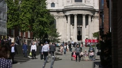 St Paul's Cathedral with crowd of people, London, England, GB, UK, Europe Stock Footage