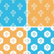 Catholic cross pattern set, colored Stock Illustration
