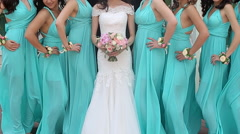 Bride And Bridesmaids  Stock Footage