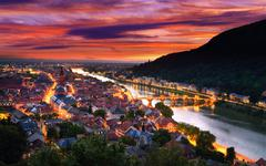 Heidelberg, Germany, with dramatic dusk sky Stock Photos