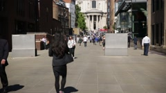 St Pauls Cathedral Crowd at the entrance, London, UK, Europe - stock footage