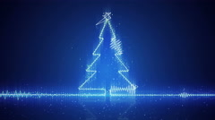 Techno christmas tree electric wave loopable animation 4k (4096x2304) Stock Footage