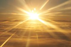 Sky, sunset sun and clouds Stock Photos