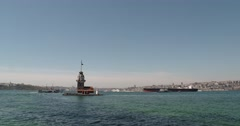 Maiden's Tower in Istanbul Stock Footage