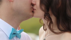The Bride and Groom Kiss Stock Footage
