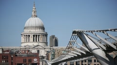 St. Pauls Cathedral, London, Millennium Bridge, UK, Europe Stock Footage