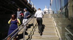 St Paul's Cathedral, Millennium Bridge, stairs, London, England, Europe Stock Footage