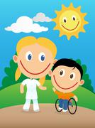 Happy physiotherapist and child in wheelchair - stock illustration