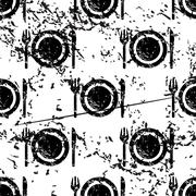 Dishware pattern grunge, monochrome Stock Illustration