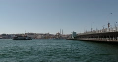 Galata Bridge in Istanbul, Turkey Stock Footage