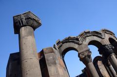Column with eagle figure at Zvartnots (celestial angels) temple ruins,Armenia Stock Photos