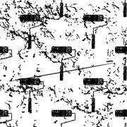 Paint roller pattern, grunge, monochrome - stock illustration