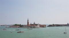 Venice Landscape San Giorgio Maggiore Wid Angle Stock Footage