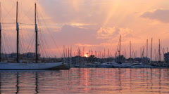 Sunset over marina in southern Spain Stock Footage