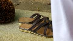 Woman wearing footwear on pool side Stock Footage