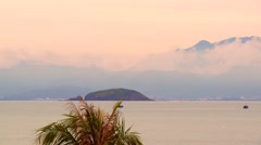View of mountains and sea near island Stock Footage