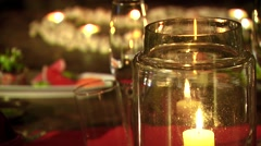 Appetizer kept on decorated table - stock footage
