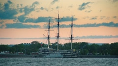 Old frigate near the waterfront in center of St.Petersburg Stock Footage
