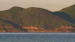 View of mountains and sea in Asian Island Stock Footage