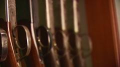 Close-up of various shotguns Stock Footage
