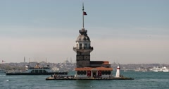 Maiden's Tower in Istanbul - stock footage
