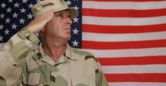 Military Flag Guard Soldier Execute Salute Honor American Army Security Corp US Stock Footage