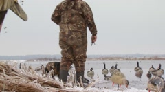 Hunter signaling dog to get dead duck Stock Footage