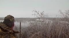 Flock of ducks flying near lake Stock Footage