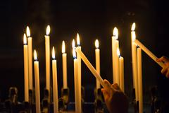 Candels in the church Stock Photos