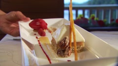 Dessert being served on Table Stock Footage
