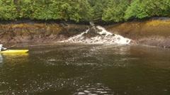 Kayakers on kayak paddling in river Stock Footage