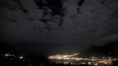 Harbour town at night.Time lapse - stock footage