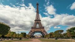 Eiffel Tower & Champ de Mars, Paris, Time Lapse Stock Footage