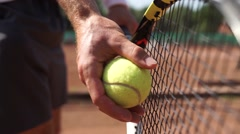 Tennis serve front Stock Footage